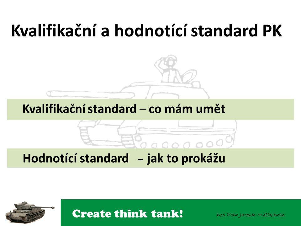 Create think tank! Doc. PhDr. Jaroslav Mužík DrSc. Kvalifikační a hodnotící standard PK Kvalifikační standard – co mám umět Hodnotící standard – jak t