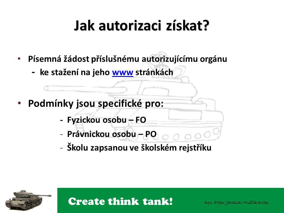 Create think tank! Doc. PhDr. Jaroslav Mužík DrSc. Jak autorizaci získat? Písemná žádost příslušnému autorizujícímu orgánu - ke stažení na jeho www st