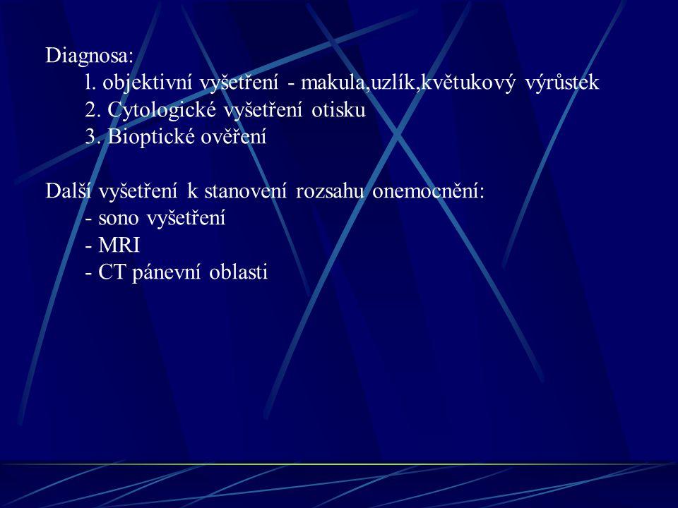Diagnosa: l. objektivní vyšetření - makula,uzlík,květukový výrůstek 2. Cytologické vyšetření otisku 3. Bioptické ověření Další vyšetření k stanovení r