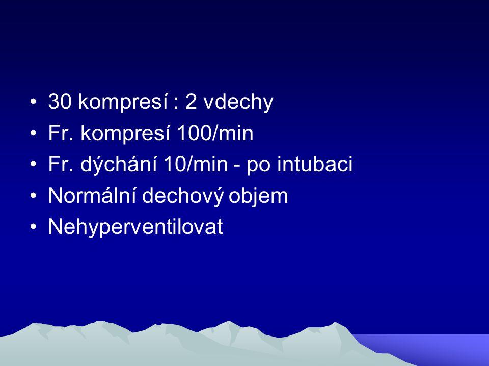 30 kompresí : 2 vdechy Fr. kompresí 100/min Fr. dýchání 10/min - po intubaci Normální dechový objem Nehyperventilovat