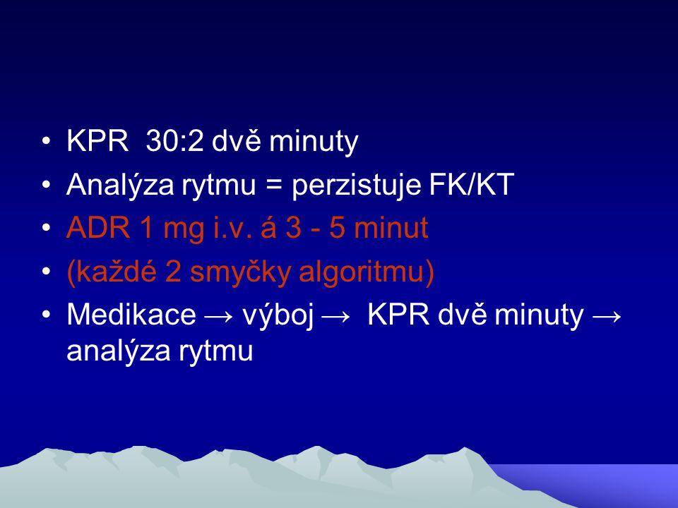KPR 30:2 dvě minuty Analýza rytmu = perzistuje FK/KT ADR 1 mg i.v. á 3 - 5 minut (každé 2 smyčky algoritmu) Medikace → výboj → KPR dvě minuty → analýz