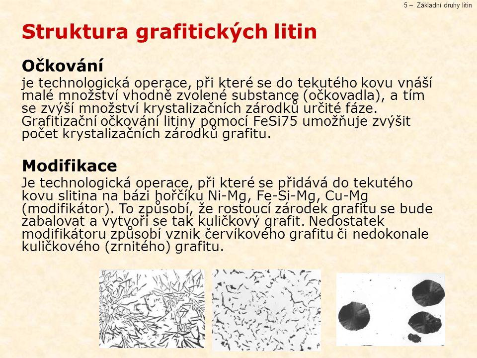 5 – Základní druhy litin Struktura grafitických litin Očkování je technologická operace, při které se do tekutého kovu vnáší malé množství vhodně zvolené substance (očkovadla), a tím se zvýší množství krystalizačních zárodků určité fáze.