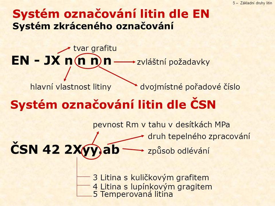5 – Základní druhy litin Systém označování litin dle EN Systém zkráceného označování Systém označování litin dle ČSN tvar grafitu EN - JX n n n n zvláštní požadavky hlavní vlastnost litinydvojmístné pořadové číslo pevnost Rm v tahu v desítkách MPa druh tepelného zpracování ČSN 42 2Xyy.ab způsob odlévání 3 Litina s kuličkovým grafitem 4 Litina s lupínkovým gragitem 5 Temperovaná litina