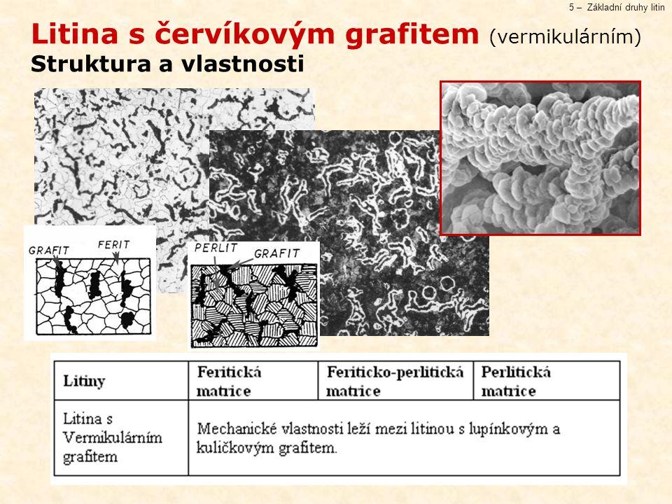 5 – Základní druhy litin Litina s červíkovým grafitem (vermikulárním) Struktura a vlastnosti