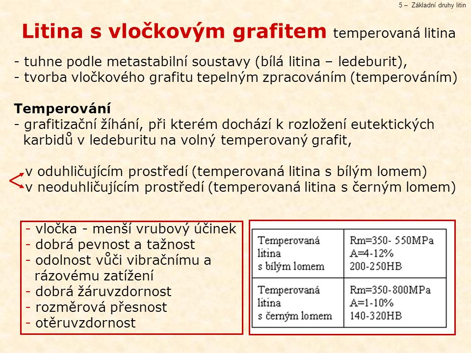5 – Základní druhy litin Litina s vločkovým grafitem temperovaná litina - tuhne podle metastabilní soustavy (bílá litina – ledeburit), - tvorba vločkového grafitu tepelným zpracováním (temperováním) Temperování - grafitizační žíhání, při kterém dochází k rozložení eutektických karbidů v ledeburitu na volný temperovaný grafit, v oduhličujícím prostředí (temperovaná litina s bílým lomem) v neoduhličujícím prostředí (temperovaná litina s černým lomem) - vločka - menší vrubový účinek - dobrá pevnost a tažnost - odolnost vůči vibračnímu a rázovému zatížení - dobrá žáruvzdornost - rozměrová přesnost - otěruvzdornost