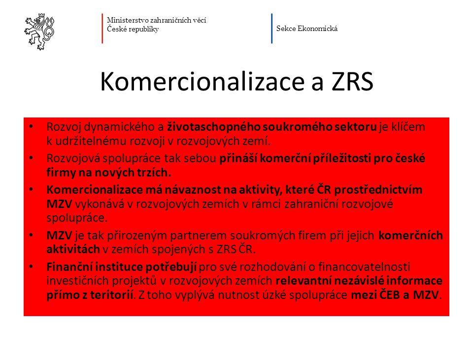 Ministerstvo zahraničních věcí České republiky Sekce Ekonomická Komercionalizace a ZRS Rozvoj dynamického a životaschopného soukromého sektoru je klíčem k udržitelnému rozvoji v rozvojových zemí.