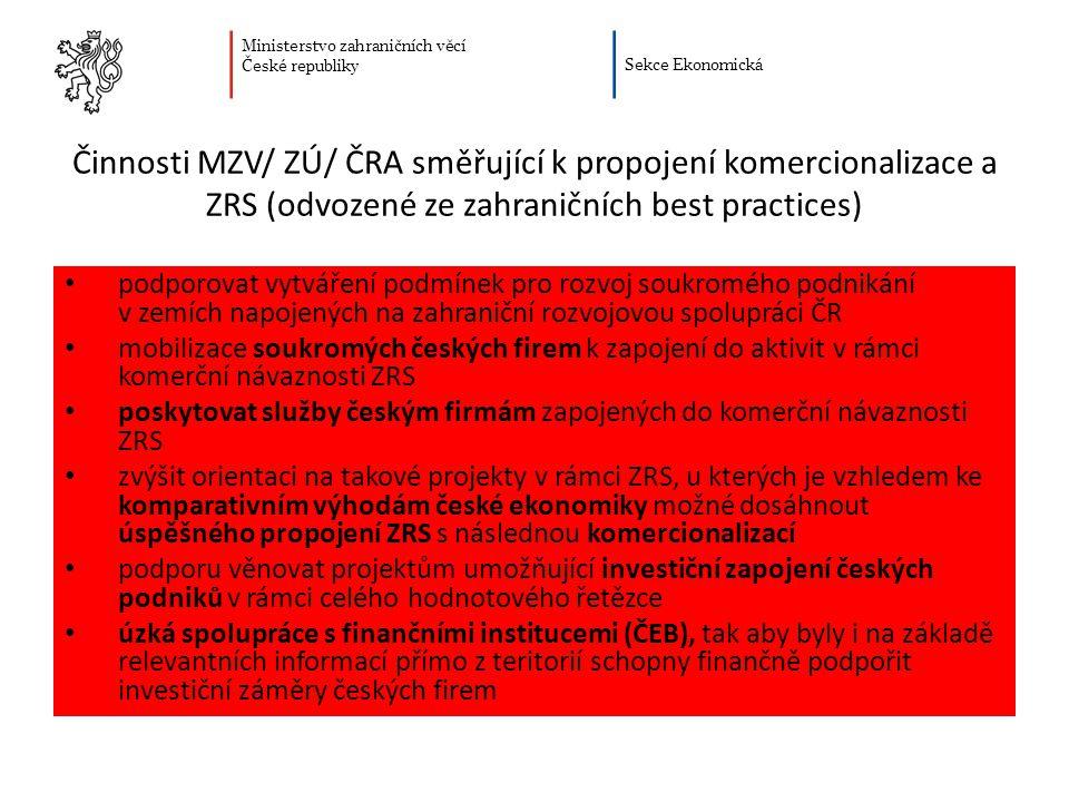 Ministerstvo zahraničních věcí České republiky Sekce Ekonomická Činnosti MZV/ ZÚ/ ČRA směřující k propojení komercionalizace a ZRS (odvozené ze zahran