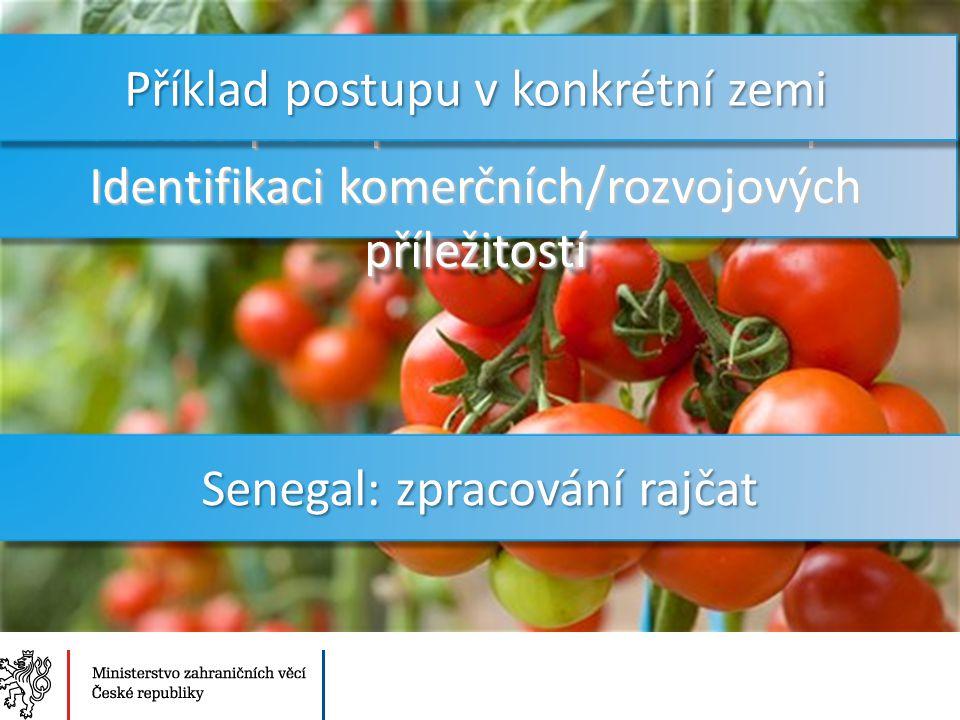 Ministerstvo zahraničních věcí České republiky Sekce Ekonomická Senegal: zpracování rajčat Příklad postupu v konkrétní zemi při Identifikaci komerčních/rozvojových příležitostí Příklad postupu v konkrétní zemi