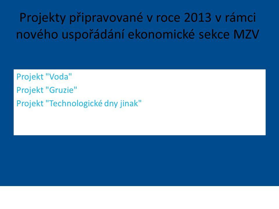 Ministerstvo zahraničních věcí České republiky Sekce Ekonomická Projekt Voda Projekt Gruzie Projekt Technologické dny jinak Projekty připravované v roce 2013 v rámci nového uspořádání ekonomické sekce MZV