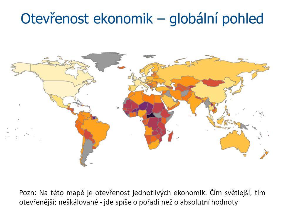 Otevřenost ekonomik – globální pohled Pozn: Na této mapě je otevřenost jednotlivých ekonomik. Čím světlejší, tím otevřenější; neškálované - jde spíše