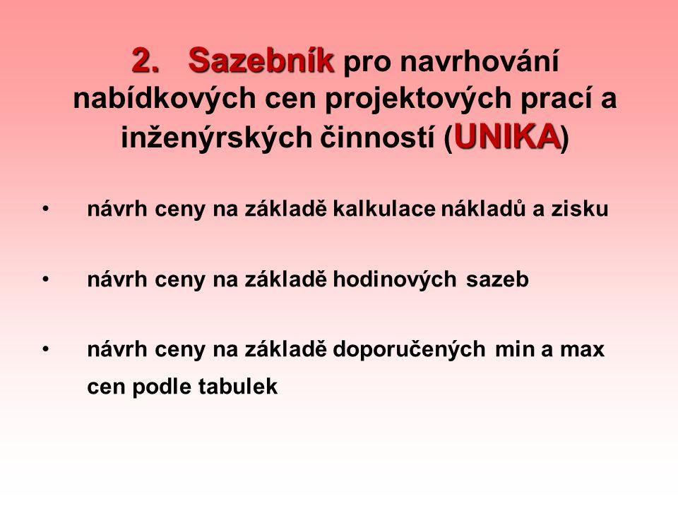 2. Sazebník UNIKA 2. Sazebník pro navrhování nabídkových cen projektových prací a inženýrských činností ( UNIKA ) návrh ceny na základě kalkulace nákl