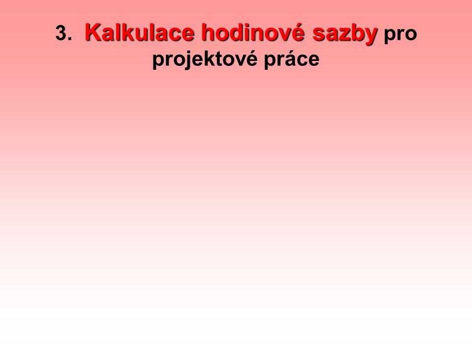 Kalkulace hodinové sazby 3. Kalkulace hodinové sazby pro projektové práce