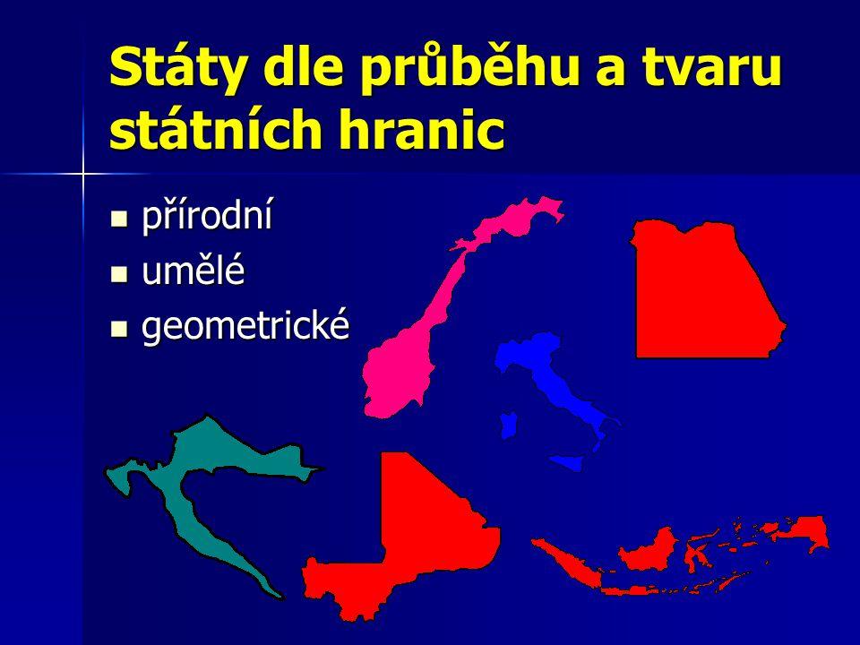 Státy dle průběhu a tvaru státních hranic přírodní přírodní umělé umělé geometrické geometrické