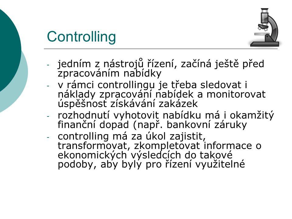 Controlling - jedním z nástrojů řízení, začíná ještě před zpracováním nabídky - v rámci controllingu je třeba sledovat i náklady zpracování nabídek a