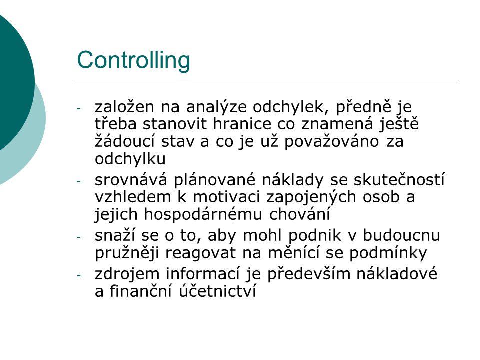 Controlling - založen na analýze odchylek, předně je třeba stanovit hranice co znamená ještě žádoucí stav a co je už považováno za odchylku - srovnává