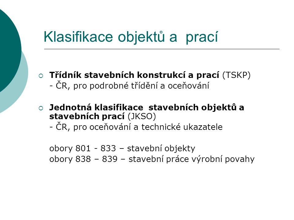 Klasifikace objektů a prací  Třídník stavebních konstrukcí a prací (TSKP) - ČR, pro podrobné třídění a oceňování  Jednotná klasifikace stavebních ob