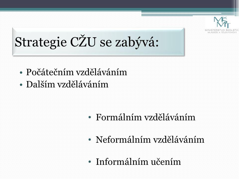 Strategie CŽU se zabývá: Počátečním vzděláváním Dalším vzděláváním Formálním vzděláváním Neformálním vzděláváním Informálním učením