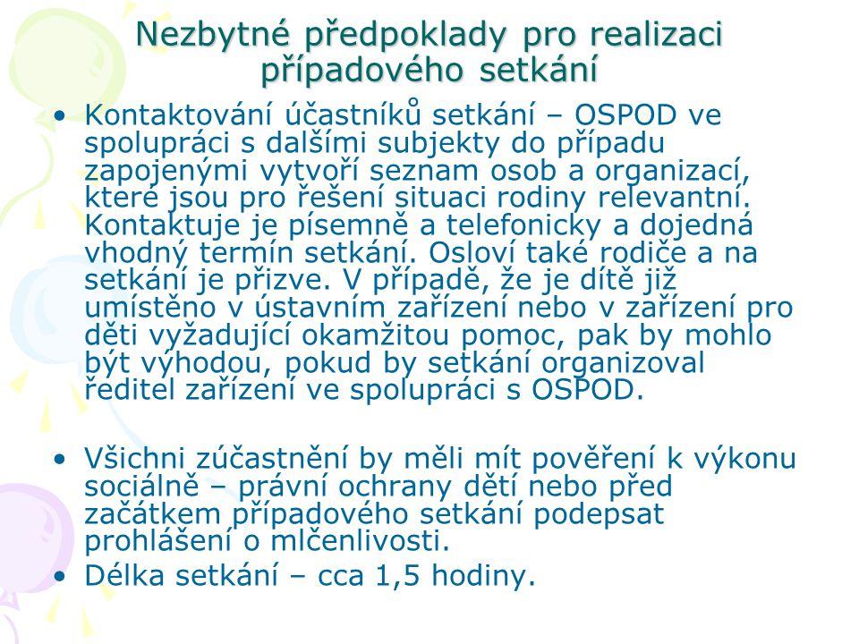 Nezbytné předpoklady pro realizaci případového setkání Kontaktování účastníků setkání – OSPOD ve spolupráci s dalšími subjekty do případu zapojenými v