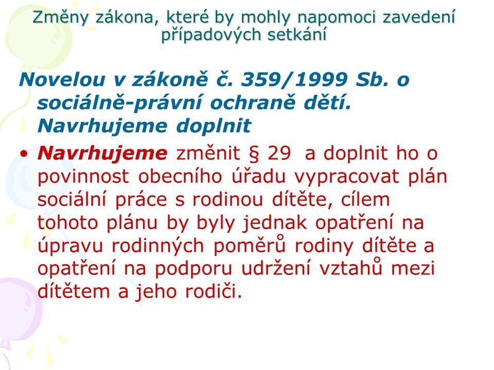 Změny zákona, které by mohly napomoci zavedení případových setkání Novelou v zákoně č. 359/1999 Sb. o sociálně-právní ochraně dětí. Navrhujeme doplnit