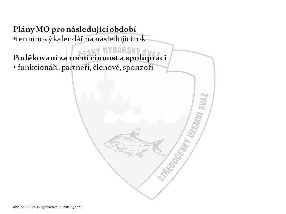 Aktuální stav členské základny a jeho rozdělení Stručný výpis z roční korespondence MO žádosti o dotace a granty žádosti o výjimky oznámení o školení nových členů Zpráva jednatele dne 28.12.2014 vypracoval Dušan Hýbner přednášející: jednatel MO případně může být součástí zprávy předsedy MO 5