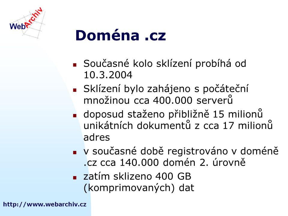 http://www.webarchiv.cz Doména.cz Současné kolo sklízení probíhá od 10.3.2004 Sklízení bylo zahájeno s počáteční množinou cca 400.000 serverů doposud staženo přibližně 15 milionů unikátních dokumentů z cca 17 milionů adres v současné době registrováno v doméně.cz cca 140.000 domén 2.