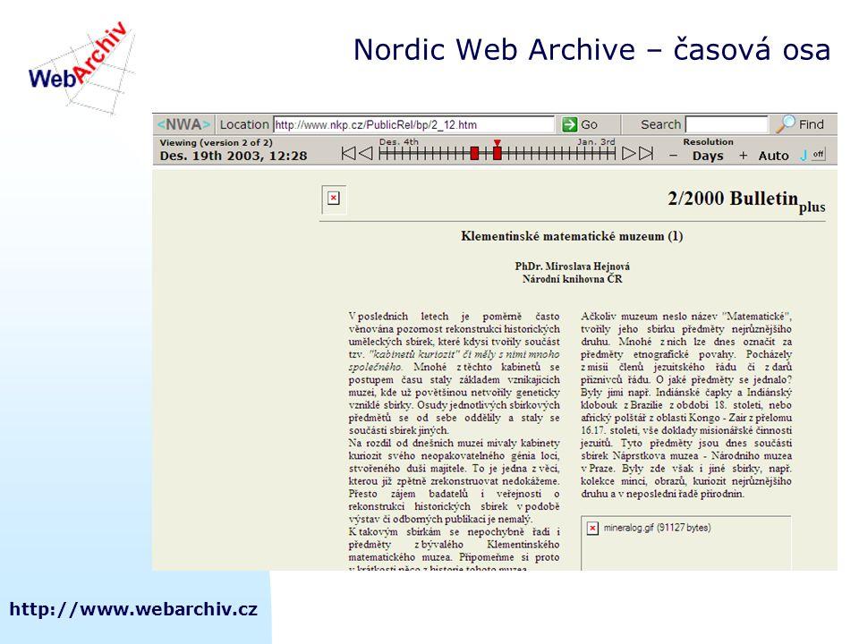 http://www.webarchiv.cz Nordic Web Archive – časová osa
