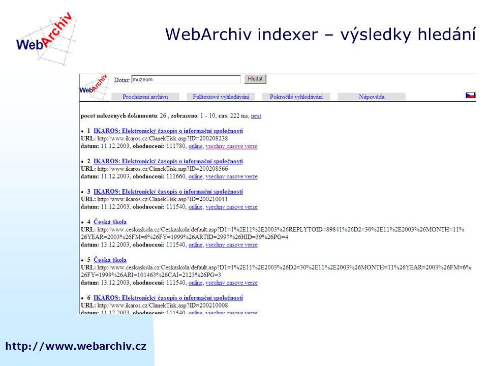 http://www.webarchiv.cz WebArchiv indexer – výsledky hledání