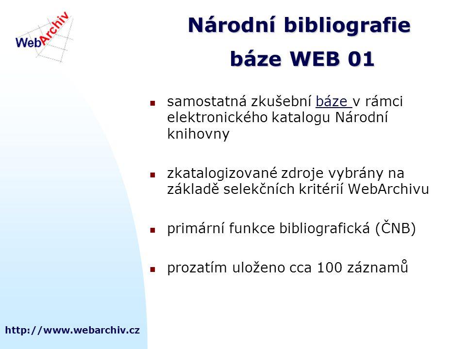 http://www.webarchiv.cz Národní bibliografie báze WEB 01 samostatná zkušební báze v rámci elektronického katalogu Národní knihovnybáze zkatalogizované zdroje vybrány na základě selekčních kritérií WebArchivu primární funkce bibliografická (ČNB) prozatím uloženo cca 100 záznamů