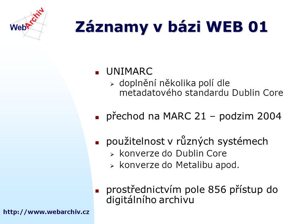 http://www.webarchiv.cz Záznamy v bázi WEB 01 UNIMARC  doplnění několika polí dle metadatového standardu Dublin Core přechod na MARC 21 – podzim 2004 použitelnost v různých systémech  konverze do Dublin Core  konverze do Metalibu apod.