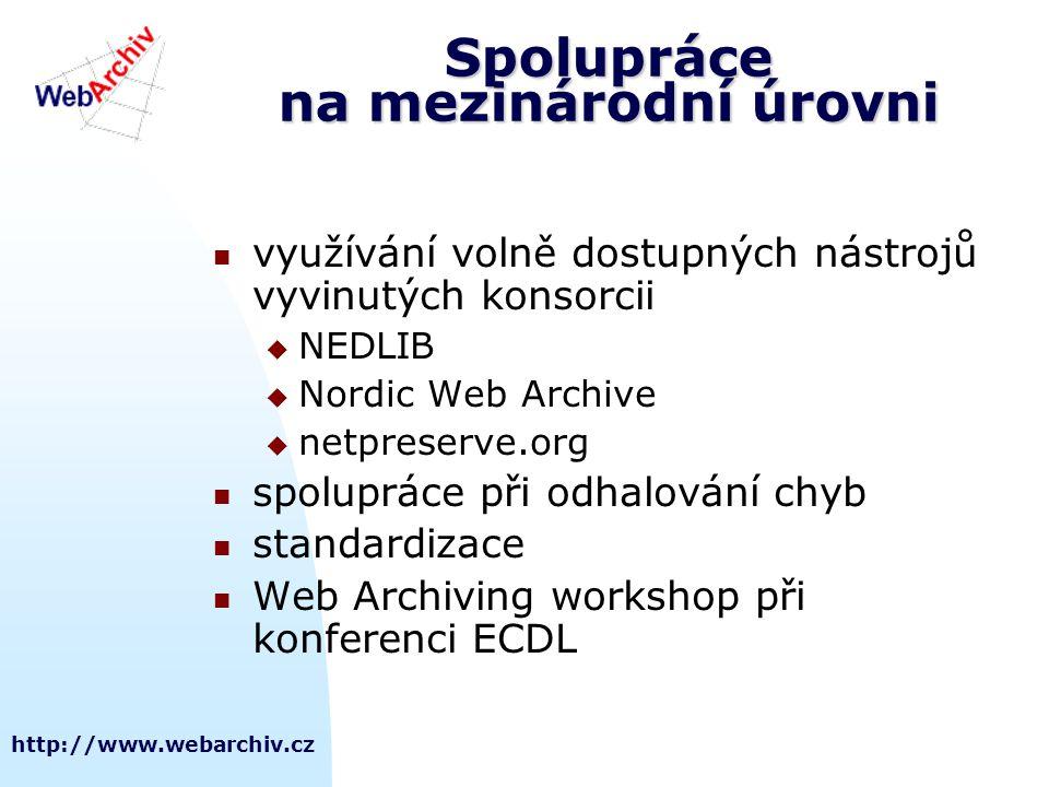 Spolupráce na mezinárodní úrovni využívání volně dostupných nástrojů vyvinutých konsorcii  NEDLIB  Nordic Web Archive  netpreserve.org spolupráce při odhalování chyb standardizace Web Archiving workshop při konferenci ECDL