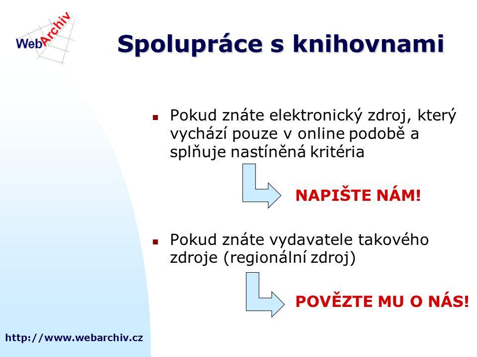 http://www.webarchiv.cz Spolupráce s knihovnami Pokud znáte elektronický zdroj, který vychází pouze v online podobě a splňuje nastíněná kritéria NAPIŠTE NÁM.
