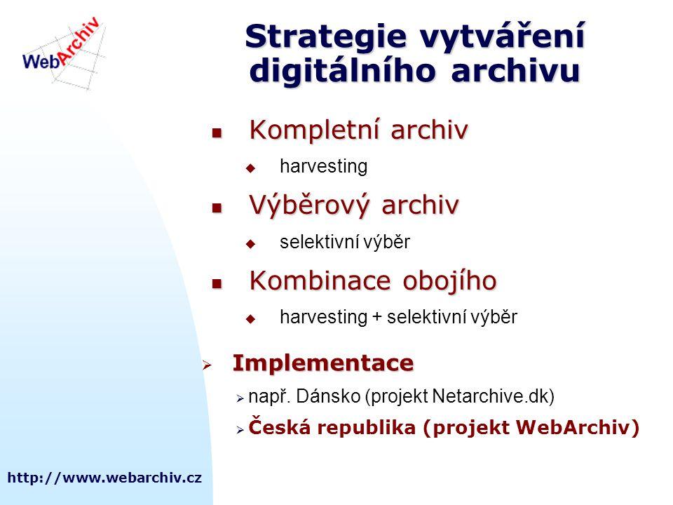http://www.webarchiv.cz Strategie vytváření digitálního archivu Kompletní archiv Kompletní archiv  harvesting Výběrový archiv Výběrový archiv  selektivní výběr Kombinace obojího Kombinace obojího  harvesting + selektivní výběr Implementace  Implementace  např.