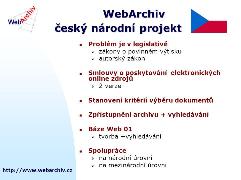 http://www.webarchiv.cz WebArchiv český národní projekt Problém je v legislativě  zákony o povinném výtisku  autorský zákon Smlouvy o poskytování elektronických online zdrojů  2 verze Stanovení kritérií výběru dokumentů Zpřístupnění archivu + vyhledávání Báze Web 01  tvorba +vyhledávání Spolupráce  na národní úrovni  na mezinárodní úrovni