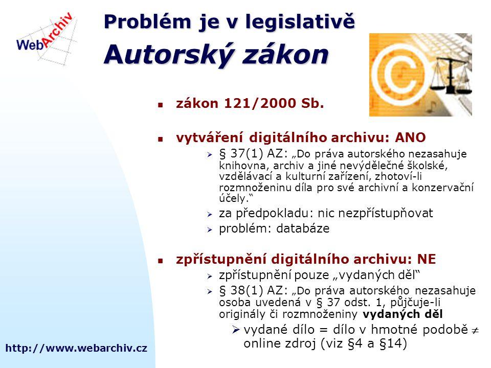 http://www.webarchiv.cz Problém je v legislativě Autorský zákon řešení.