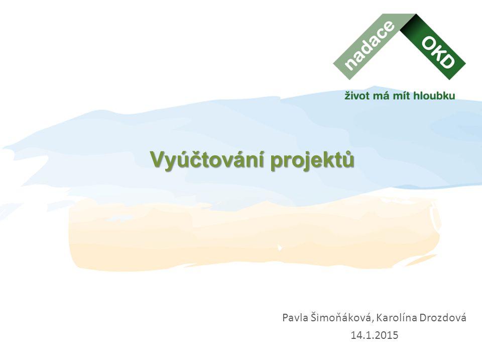 Příprava vyúčtování projektu  Smlouva – období realizace projektu  Rozpočet projektu  Pokyny pro příjemce  Průběžné vyúčtování – zahrnuty doklady uhrazené do termínu vyhotovení PZ  Závěrečné vyúčtování – obsahuje všechny doklady za celou realizaci projektu (včetně dokladů uvedených v Průběžném vyúčtování projektu)