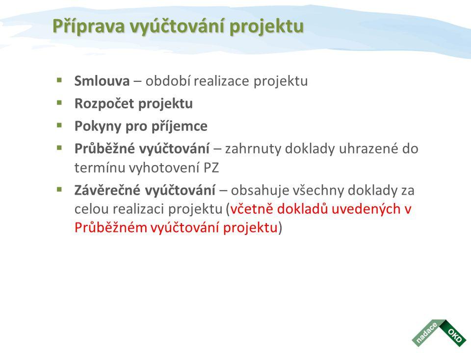 Příprava vyúčtování projektu  Smlouva – období realizace projektu  Rozpočet projektu  Pokyny pro příjemce  Průběžné vyúčtování – zahrnuty doklady