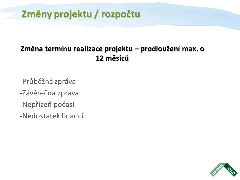 Změny projektu / rozpočtu Změna termínu realizace projektu – prodloužení max. o 12 měsíců -Průběžná zpráva -Závěrečná zpráva -Nepřízeň počasí -Nedosta