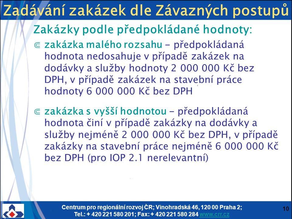 Centrum pro regionální rozvoj ČR; Vinohradská 46, 120 00 Praha 2; Tel.: + 420 221 580 201; Fax: + 420 221 580 284 www.crr.czwww.crr.cz 10 Zakázky podl