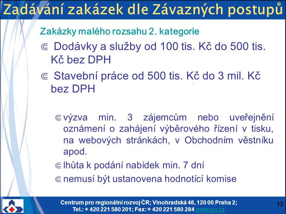 Centrum pro regionální rozvoj ČR; Vinohradská 46, 120 00 Praha 2; Tel.: + 420 221 580 201; Fax: + 420 221 580 284 www.crr.czwww.crr.cz 12 Zakázky malé