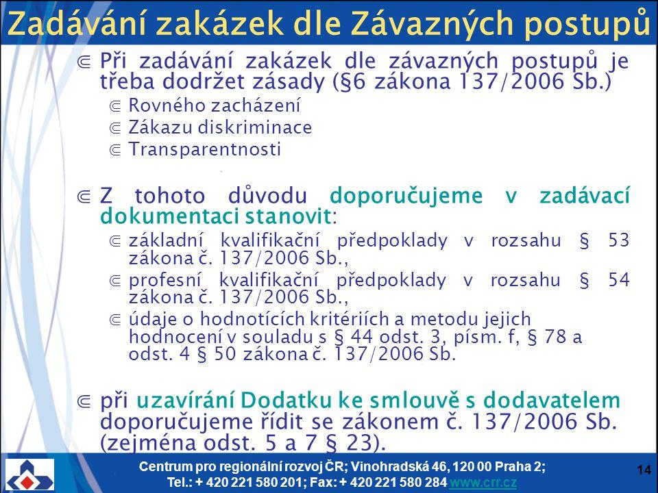 Centrum pro regionální rozvoj ČR; Vinohradská 46, 120 00 Praha 2; Tel.: + 420 221 580 201; Fax: + 420 221 580 284 www.crr.czwww.crr.cz 14 ⋐Při zadáván