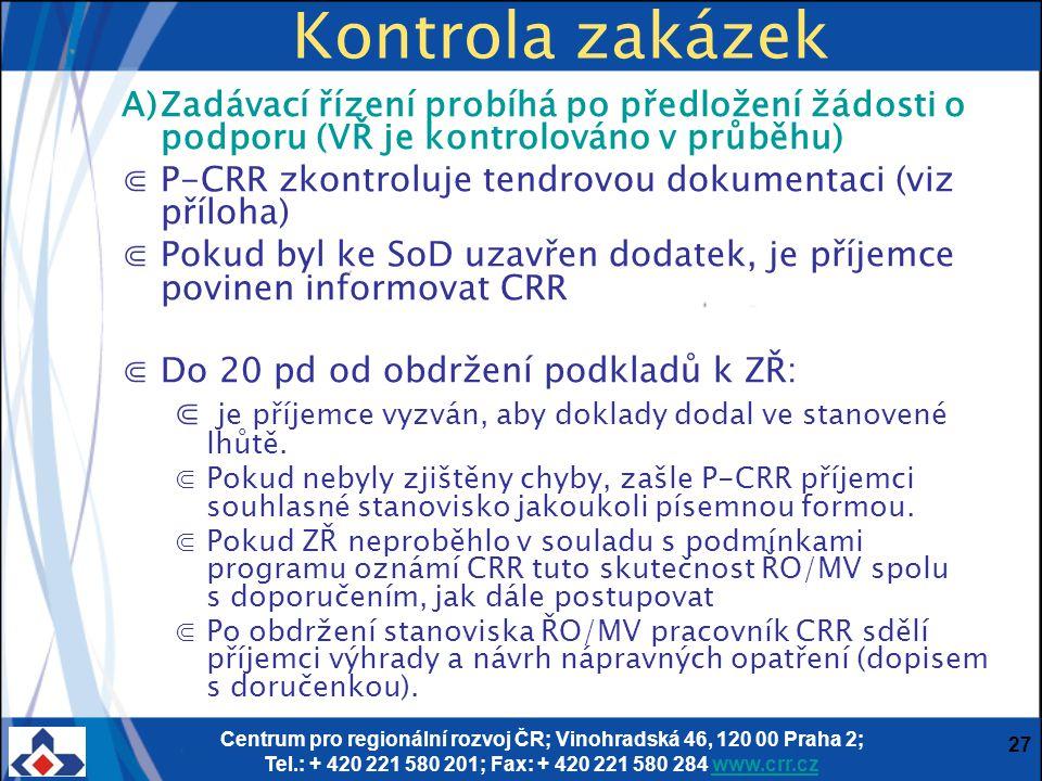 Centrum pro regionální rozvoj ČR; Vinohradská 46, 120 00 Praha 2; Tel.: + 420 221 580 201; Fax: + 420 221 580 284 www.crr.czwww.crr.cz 27 Kontrola zak