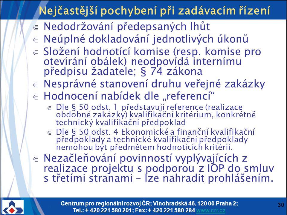 Centrum pro regionální rozvoj ČR; Vinohradská 46, 120 00 Praha 2; Tel.: + 420 221 580 201; Fax: + 420 221 580 284 www.crr.czwww.crr.cz 30 Nejčastější