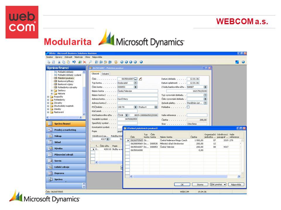 WEBCOM a.s. Modularita