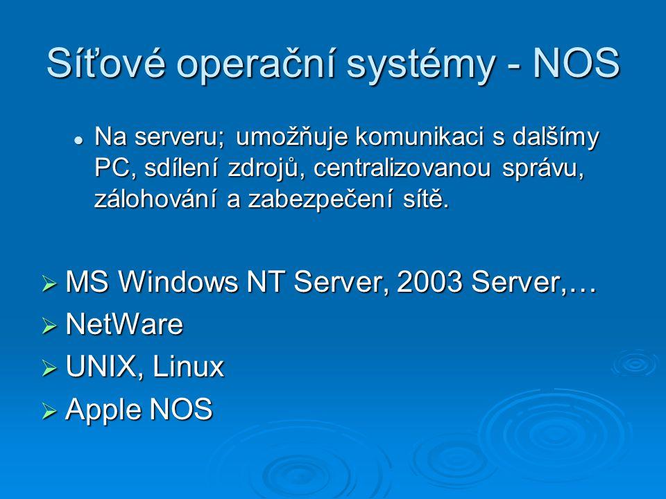 Síťové operační systémy - NOS Na serveru; umožňuje komunikaci s dalšímy PC, sdílení zdrojů, centralizovanou správu, zálohování a zabezpečení sítě. Na