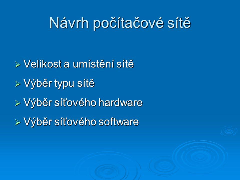 Návrh počítačové sítě  Velikost a umístění sítě  Výběr typu sítě  Výběr síťového hardware  Výběr síťového software