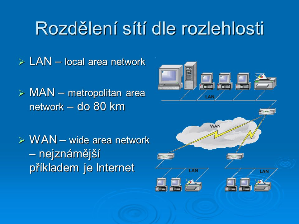 Rozdělení sítí dle rozlehlosti  LAN – local area network  MAN – metropolitan area network – do 80 km  WAN – wide area network – nejznámější příklad
