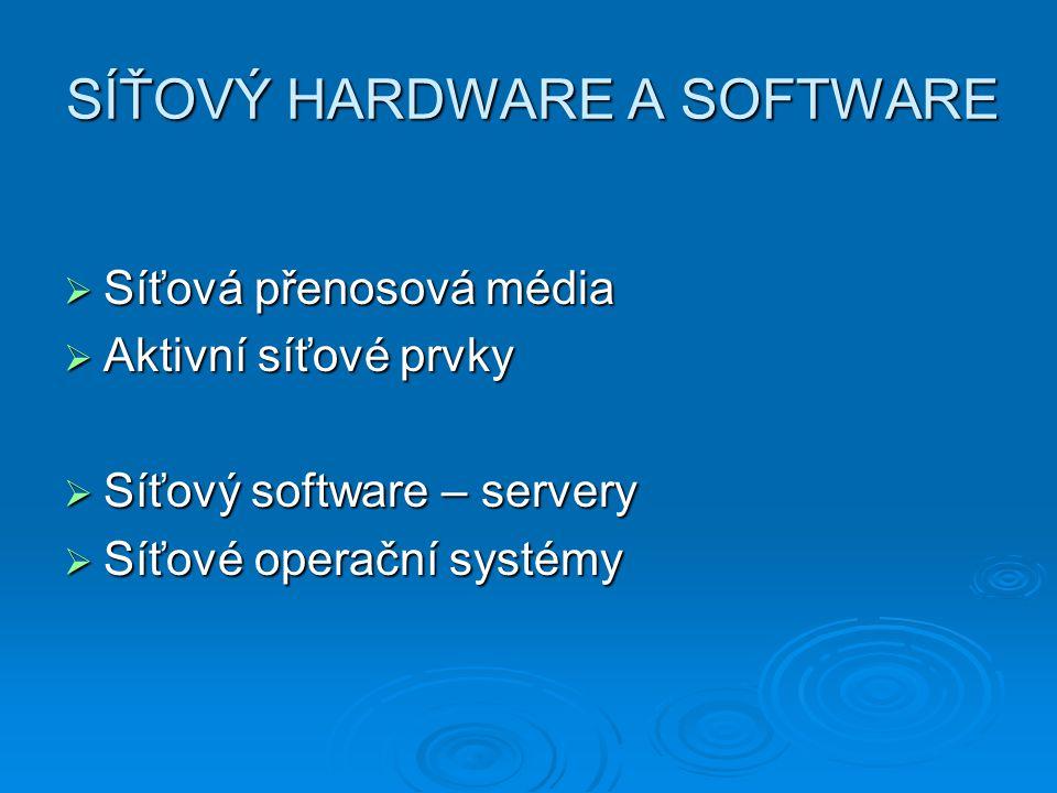 SÍŤOVÝ HARDWARE A SOFTWARE  Síťová přenosová média  Aktivní síťové prvky  Síťový software – servery  Síťové operační systémy