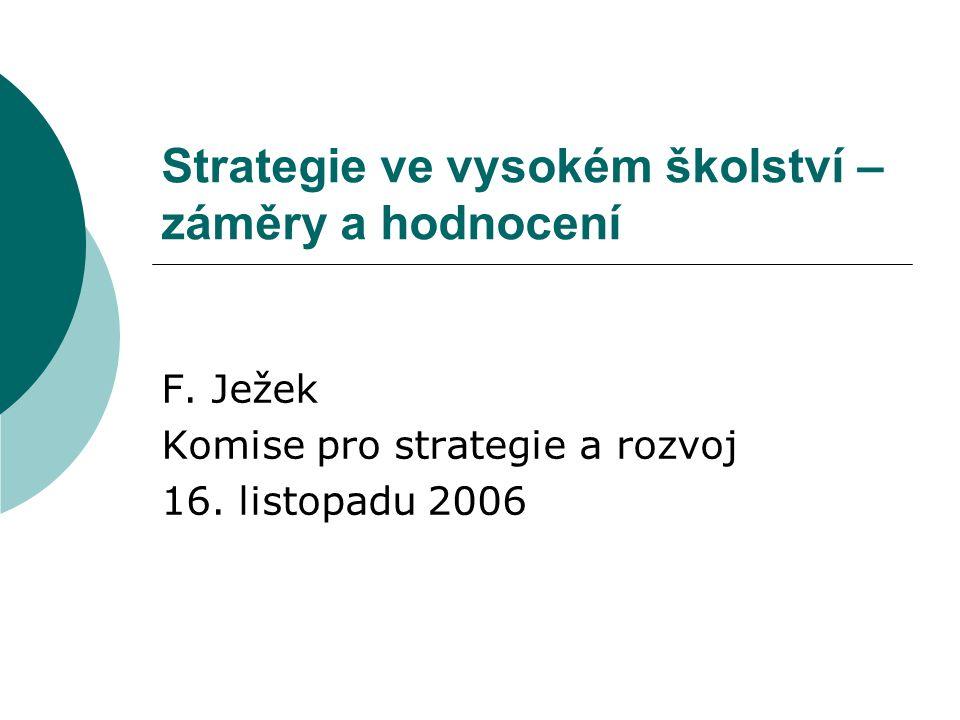 Strategie ve vysokém školství – záměry a hodnocení F.