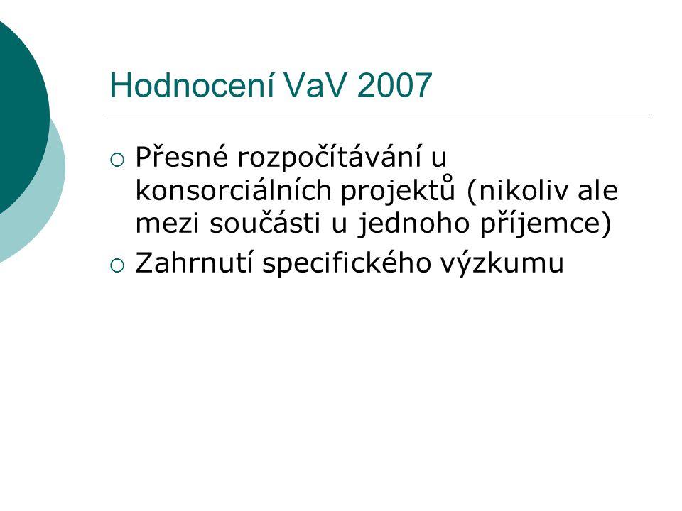 Hodnocení VaV 2007  Přesné rozpočítávání u konsorciálních projektů (nikoliv ale mezi součásti u jednoho příjemce)  Zahrnutí specifického výzkumu