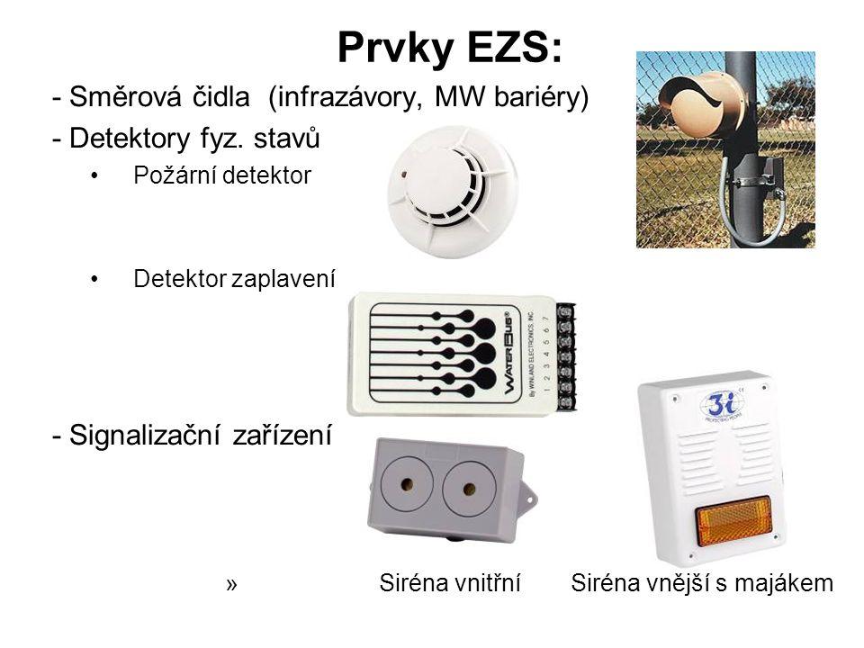 Prvky EZS: - Směrová čidla (infrazávory, MW bariéry) - Detektory fyz.
